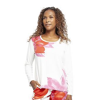 Cyberjammies 4366 Women's Amber Ivory Off-White Floral Print Cotton Pyjama Top