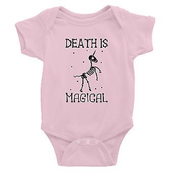 Death is Megical Unicorn Skeleton Funny Halloween Baby Bodysuit Gift Pink