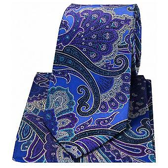 Posh and Dandy Large Edwardian Paisley Silk Tie and Hanky Set - Blue/Purple