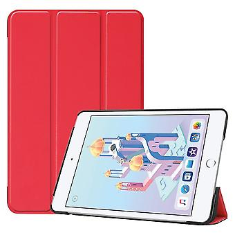 For iPad mini 5 (2019) Case Red Karst Texture Smart PU Leather Folio Cover