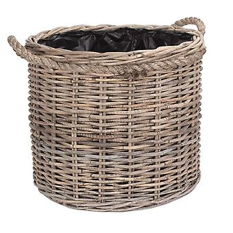 Medium Rope Handled Rattan Round Planter with Plastic Lining