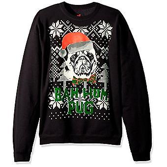 Hanes Men's Ugly Christmas Sweatshirt,Black/Bah Hum Pug,Large, Black, Size Large