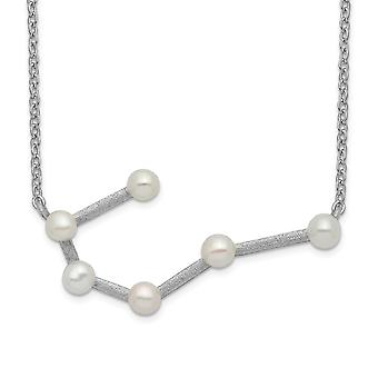925 Sterling Silver Rhod plat 6 3 4mm Fwc Pearl Cancer With 1inch Ext. Necklace 17 Inch Jewelry Gifts for Women