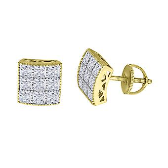 925 Sterling Silver Mens Yellow tone CZ Princess Cut Square Dome Stud Earrings Measures 8.8x8.8mm Jewelry Gifts for Men