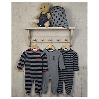 The Essential One Baby Boys Stripey Sleepsuits - 3 Pack