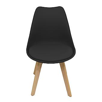 Charles Bentley Pair of Plastic Tulip PU Dining Chairs in Black Scandi Retro Desk Kitchen Solid Wood Legs Cushion Seat H82cm