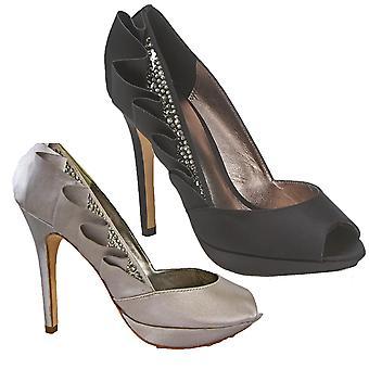 Bourne naiset ' s Simone laskostettu Satiini peeptoe kengät