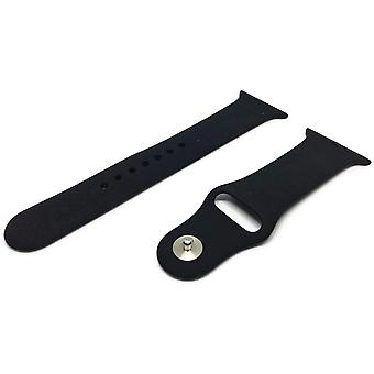 Watch strap made by w&cp to fit apple iwatch black rubber stainless steel buckle 38mm and 42mm