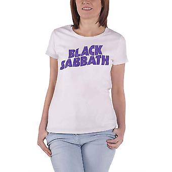 Black Sabbath T Shirt Vintage Wavy Band Logo new Official Womens Skinny Fit