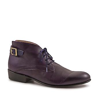 Women's derby lace-up shoes handmade violet/blue