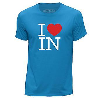 STUFF4 Men's Round Neck T-Shirt/I Heart IN / Love Indiana/Blue