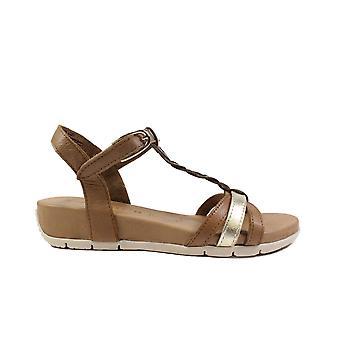 Tamaris 28251 Tan Leather Womens Rip Tape T Bar Sandals