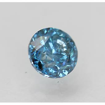 Cert 0.56 Carat Vivid Blue SI2 Round Brilliant Enhanced Natural Diamond 4.94mm