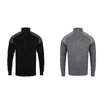 Tombo Mens 1/4 Zip Reflective Long Sleeve Top