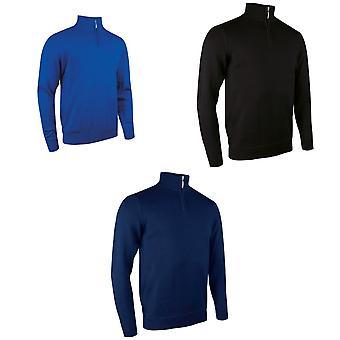 Glenmuir Mens Plain Zip Neck Cotton Golf Sweater/Jumper