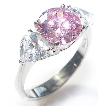 Ah! Jewellery Women's Stunning Brilliant Round 9mm Rose And Clear Simulated Diamond Stainless Steel Ring.