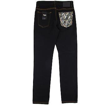 Fendi camuflaje bolsillo EE.UU. Delgado Jeans Nero