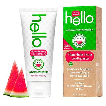 Hello kids fluoride free toothpaste, natural watermelon, 4.2 oz