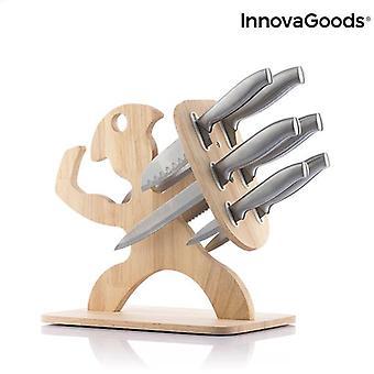 Conjunto de facas com base de madeira espartano innovagoods 7 peças