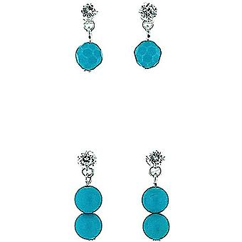TOC Sterling Silver Crystal Turquoise Ball Drop Earrings - Gift Set - Pack of 2