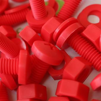 20x Red Pan Head Polypropylene (PP) Nuts, Bolts, Washers M8 x 20mm