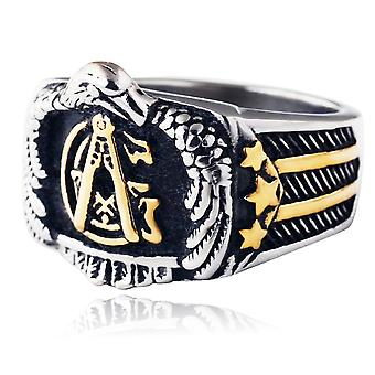 Eagle us flag masonic ring