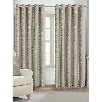 Belle Maison Lined Eyelet Curtains, Palermo Range, 46x90 Mink