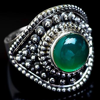 Green Onyx Ring Size 8.25 (925 Sterling Silver)  - Handmade Boho Vintage Jewelry RING4593