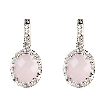 Earrings Silver Rose Quartz Pink Stud Gemstone Dangle Gift 925 Statement Bold