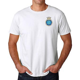 HMS Manchester brodert Logo - offisielle Royal Navy ringspunnet bomull T-skjorte