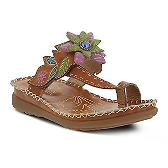 L'Artiste by Spring Step Womens Berry Leather Peep Toe Casual Slide Sandals