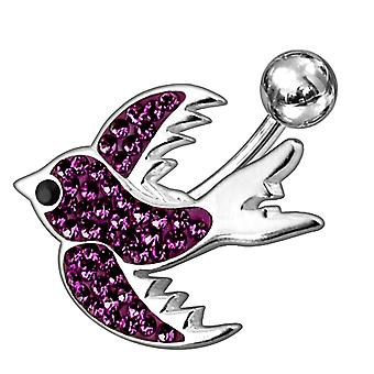 Fancy Jeweled Silver BIRD Non-Moving SS Banana Bar Belly Ring