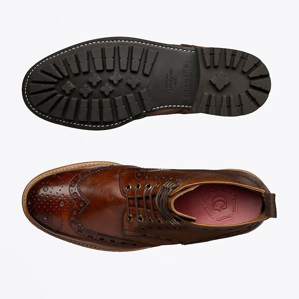 Grenson - Fred Hand Painted Brogue Boot Tan
