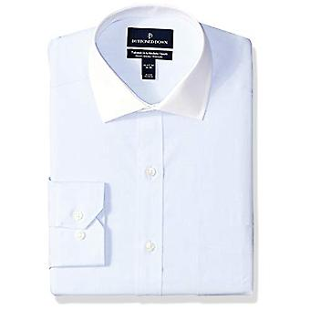 "BUTTONED DOWN Men's Tailored Fit Stretch Poplin Non-Iron Dress Shirt, Light Blue/White Collar, 17.5"" Neck 37"" Sleeve"