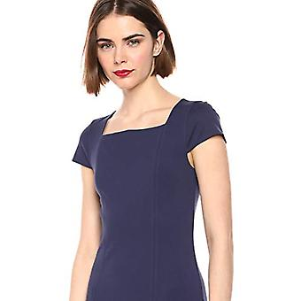 Brand - Lark & Ro Women's Cap Sleeve Square Neck Seamed Fit and Flare Dress, Midnight Blue 2