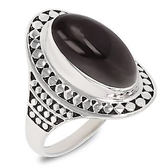 ADEN 925 Sterling Silber Obsidian ovale Form Ring (ID 3858)