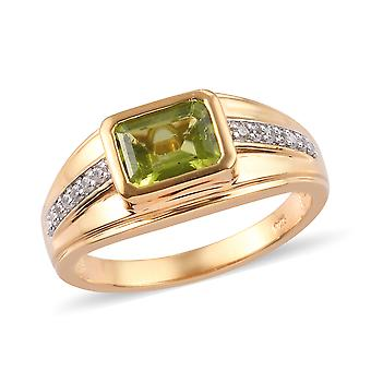 AA Peridot Solitaire Ring Sterling Argent 14ct Or Plaqué Cambodgien Zircon TJC