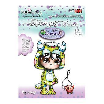 Polkadoodles Little Monsters Clear Stamp Pip Onesie
