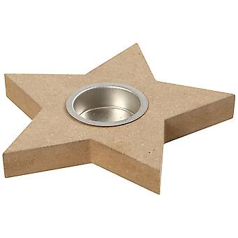 MDF Wood Star Tea Light Candle Holder to Decorate -15cm