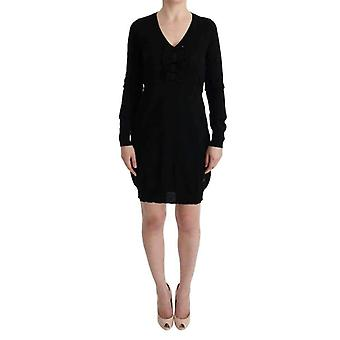 Black Wool Long Sleeve Shift Dress -- TUI1367152