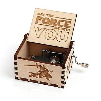 May The Force Be With You 18 Tones Wooden Hand Crank Music Box