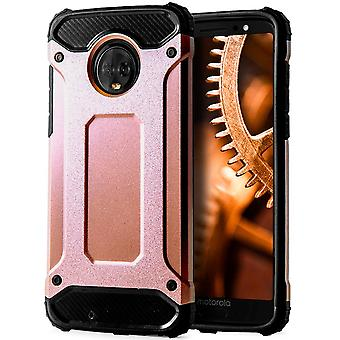 Shell to Motorola Moto G6 Pink Gold Armor Protection Case Hard
