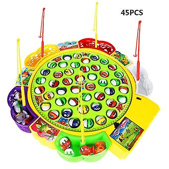 Electric Musical Rotating Fishing Toy For Children - Magnetic Board Play Fish Game
