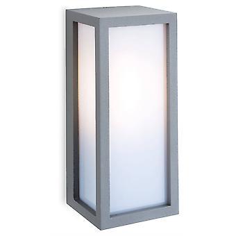 1 luz de pared al aire libre plata de luz, difusor de ópalo IP54, E27