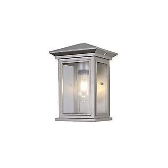 Luminosa Lighting - Innfelt vegglampe, 1 x E27, IP54, sølvgrå, klart seeded glass
