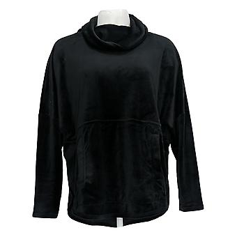 Anybody Women's Top Velour Oversized Cowl Pullover Black A345454