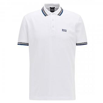 Boss Green Hugo Boss Paddy Pique Polo White 50398302