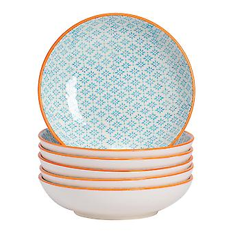 Nicola Spring 6 Piece Hand-Printed Pasta Bowl Set - Japanese Style Porcelain Serving Bowls - Blue - 22cm