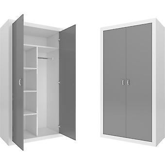 Gyermekgardrób - 90x190x50 cm - fehér/szürke - 2 ajtó