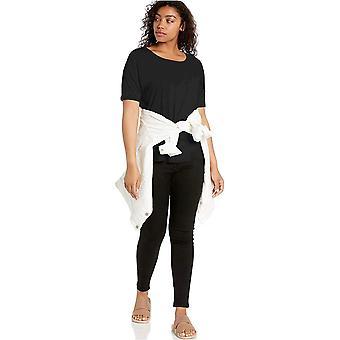 Brand - Daily Ritual Women's Jersey Rib Trim Drop-Shoulder Short-Sleeve Scoop Top, Black, Medium